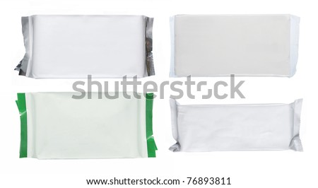set of white blank foil packaging isolated over white. ready for your design