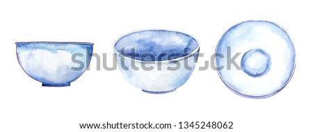 Set of white bowls, watercolor illustration