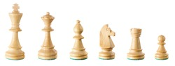 Set of white chess figures isolated on the white background: king, queen, bishop, knight, castle and pawn