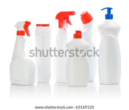 set of white cleaners with colored covers