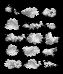 set of white clouds isolated on black background