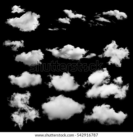 set of white clouds isolated on black background - Shutterstock ID 542916787