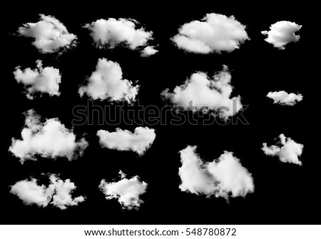 set of white clouds isolated on black background - Shutterstock ID 548780872