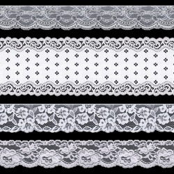 Set of white delicate tape lace on a black background. The lace is made using machine knitting. Vintage style.