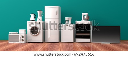 Set of white home appliances on a wooden floor. 3d illustration
