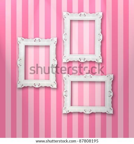 Set of white ornamental frames on a stripy wallpaper, similar available in my portfolio