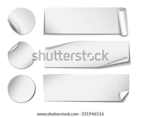 Set of white rectangular and round promotional paper stickers on white background.  #331946516