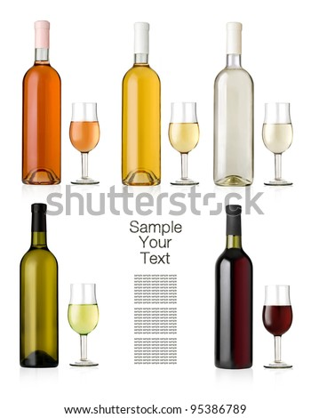 Set of white, rose, and red wine bottles and glasses.