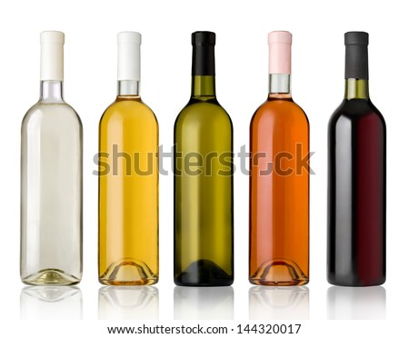 Set of white, rose, and red wine bottles.isolated on white background #144320017