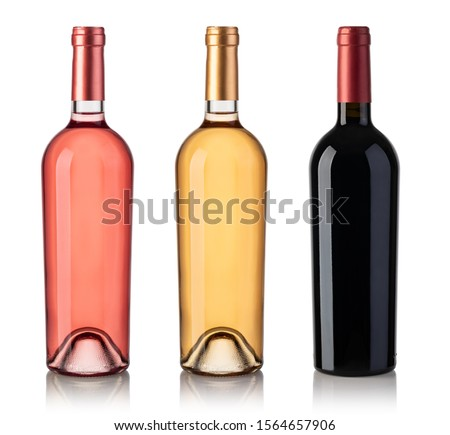 Set Of White, Rose, And Red Wine Bottles. Isolated On White Background Stock photo ©