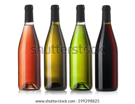 Set of white, rose, and red wine bottles. isolated on white background #199298825