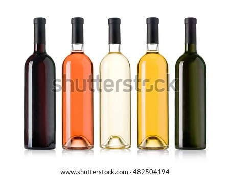 Set of white, rose, and red wine bottles.isolated on white background #482504194