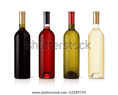 Set of white, rose, and red wine bottles. isolated on white background - stock photo