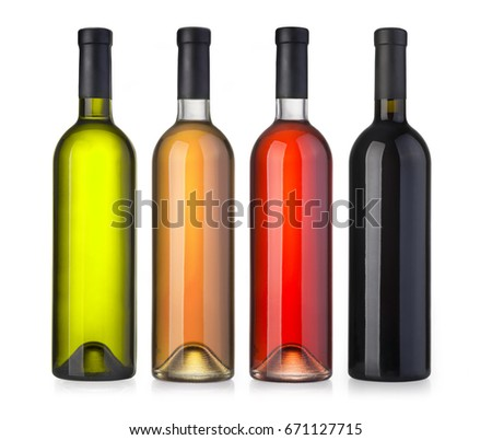 Set of white, rose, and red wine bottles.isolated on white background  #671127715