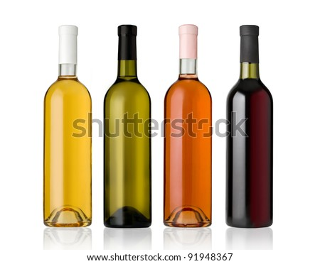 Set of white, rose, and red wine bottles.isolated on white background #91948367