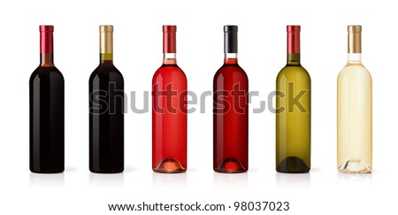 Set of white, rose, and red wine bottles. isolated on white background #98037023