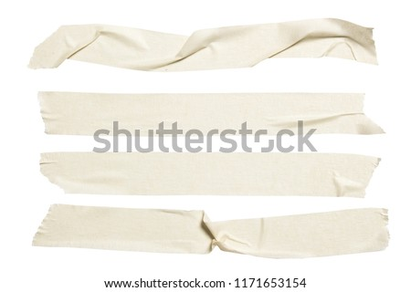 Set of white scotch tapes on gray background. Torn horizontal and different size white sticky tape, adhesive pieces.