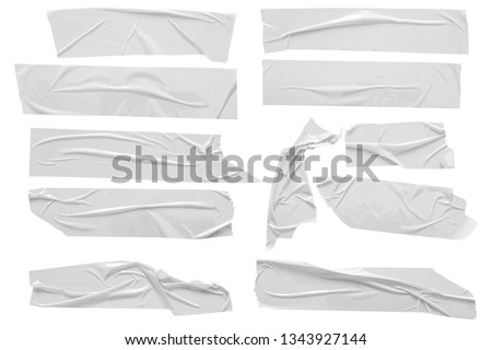 Set of white scotch tapes on white background. Torn horizontal and different size white sticky tape, adhesive pieces.