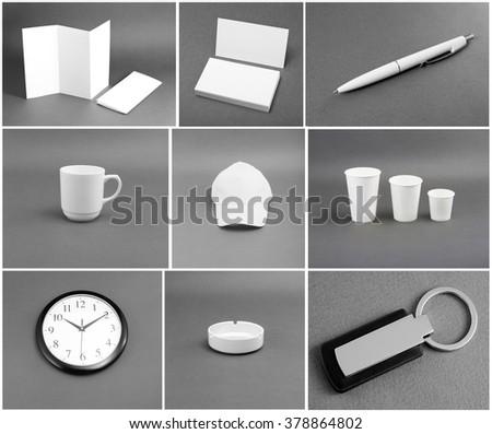 Set of white stationery on gray background #378864802