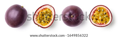 Set of whole and half of fresh passion fruit isolated on white background, top view