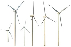 Set of Wind turbine isolated with different rotation angles on white The background