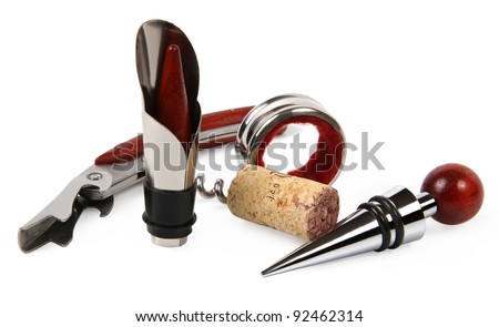 Set of wine accessories in a white background