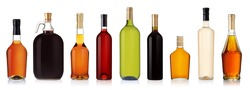 Set of wine and brandy bottles. isolated on white background