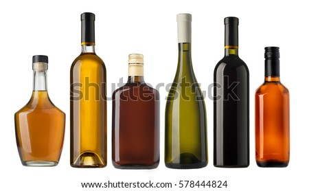 Set of wine and brandy bottles. isolated on white background #578444824