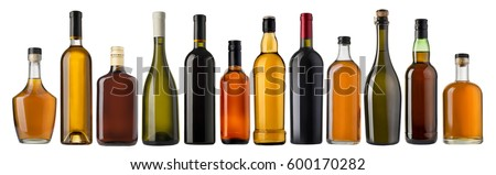 Set of wine and brandy bottles. isolated on white background #600170282
