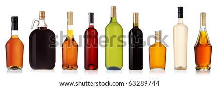 Set of wine and brandy bottles. isolated on white background #63289744