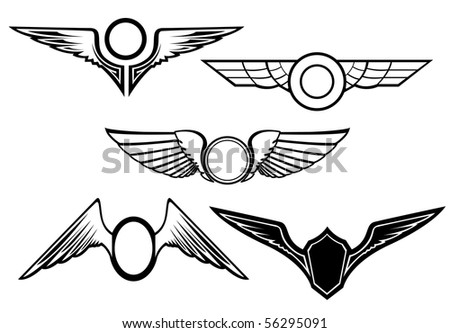 Set of wing symbols - also as emblem. Vector version also available in gallery