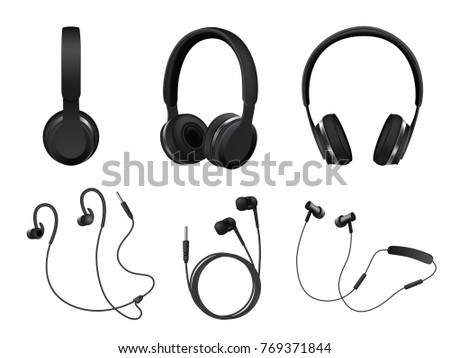Set of wireless and corded headphones, earphones. Realistic black headphones music accessories isolated on white background.