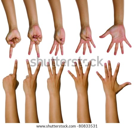 Set of woman counting hands isolated over white background