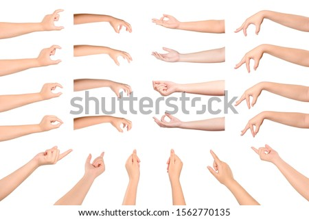 Set of Woman hand Gesturing isolated on white background.