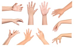 Set of Woman hands gestures isolated on white background.