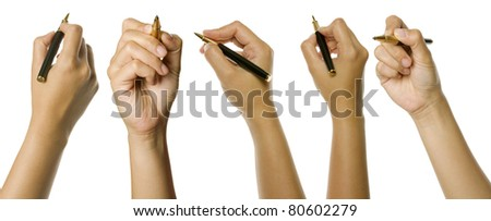 Set of woman hands holding pen isolated over white background. Good for your design