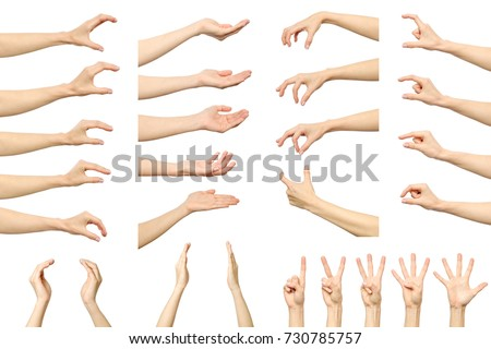 Set of woman's hand measuring invisible items. Isolated on white #730785757