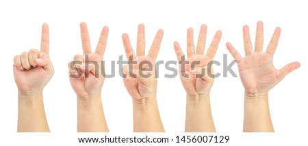 Set of woman's hand show one, two, three, foe, five fingers up isolated on white background. Finger symbols with clipping path.
