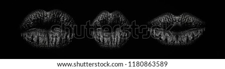Set of woman's mouth. Black lip kiss from young female. Closeup view of sexual beautiful female open closed lips isolated on studio black background. Professional make up. Kisses pattern. Mouth icon. #1180863589