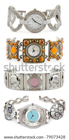 Set of woman watches on white background