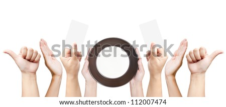 Set of women hand gestures isolated on white background