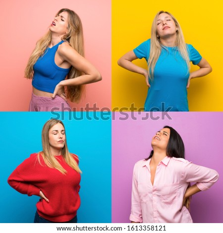 Set of women over isolated backgrounds suffering from backache for having made an effort