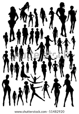 set of women silhouettes (jpg has work path included)