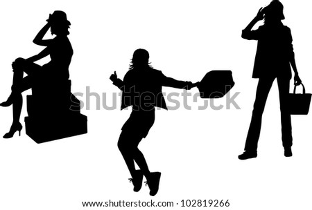 Set of women with bags and luggage silhouettes