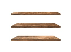 Set of  wood shelves isolated on white background with clipping path for design. Used for display or montage your products