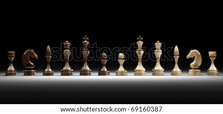 Set of wooden chess isolated on black 3d render