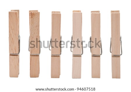 Set of wooden clothes pins on white background ストックフォト ©