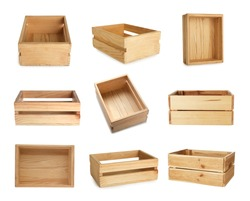 Set of wooden crates on white background