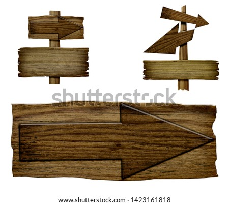 Set of wooden dark pointer isolated on white background. Old Wood  planks sign  #1423161818