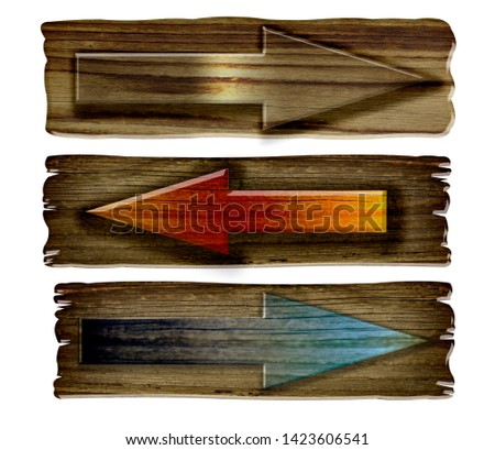 Set of wooden dark pointer isolated on white background. Old Wood  planks sign  #1423606541